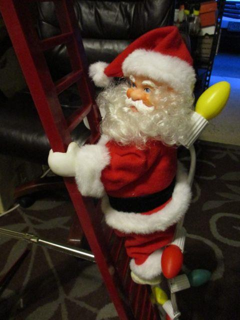 Vintage Mr. Christmas 1994 Stepping Santa Climbing Ladder With Lights & Carols