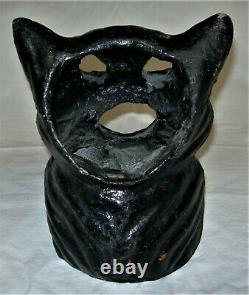 Vintage Original Black Cat On Fence Paper Mache Halloween Lantern