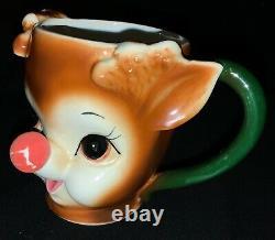Vintage! Rare! Lefton China Christmas Childs Mug Rudolph Red-nosed Reindeer