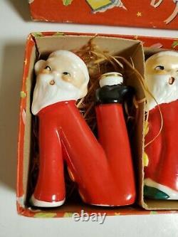 Vintage Relpo Christmas NOEL Santa Mini Candleholders Orig. MINT Japan
