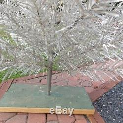 Vintage Silver Forest 6.5Ft Aluminum Silver Christmas Tree In Box Silver RETRO