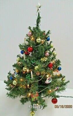 Vintage Teleflora Spode Christmas Tree 24 Tall with Ornaments/Lights/Box Used