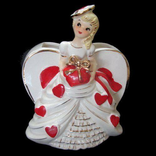 Vintage Valentine Planter Girl February Heart Vase W Hat & Bow