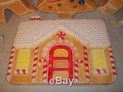 Vtg Lot 4 Union Don Featherstone Christmas Blowmolds House Tree Gingerbread Men