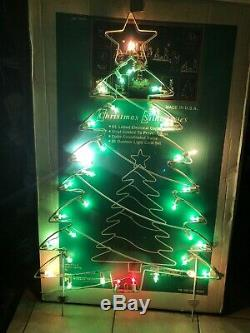 Vtg Marquee Metal Silhouette Christmas Tree Lighted Yard Sculpture 54 X 34 USA