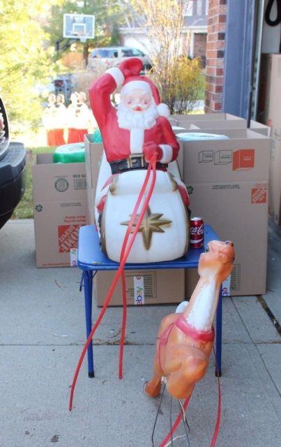 Vtg Santa Sleigh Reindeer Blowmold Light Up Outdoor Plastic Xmas Decor Lawn Yard