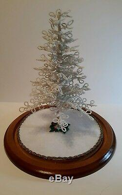 Westrim Beaded Mini Christmas Tree WHITE Ready to decorate, with Base & Skirt