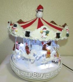 White Christmas Carousel, Animated Custom made Mr Christmas Carousel VIDEO
