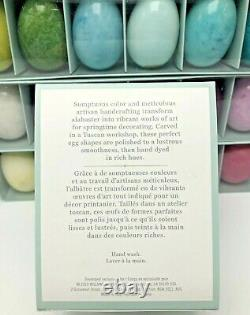 Williams Sonoma Hand Carved Alabaster Easter Eggs Set of 24 Italy Ducceschi