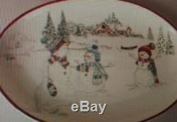 Williams Sonoma Holiday snowman Christmas large oval platter New in box