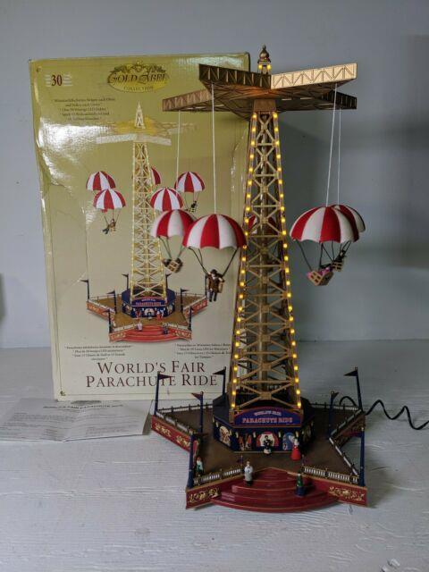 Working Mr. Christmas Gold Label Worlds Fair Parachute Ride Music Lights